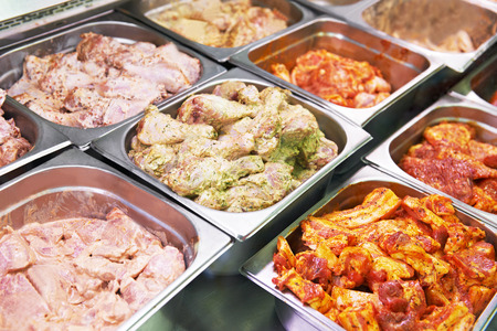 souse: supermarket showcase or glass case of meat in souse