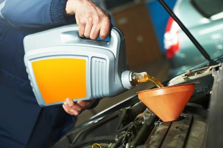car engine: Car servicing, oil and filter replacing maintenace