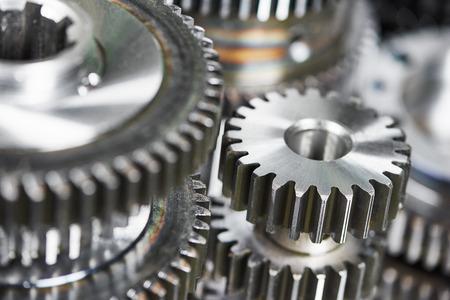 close-up metal cog wheels gears