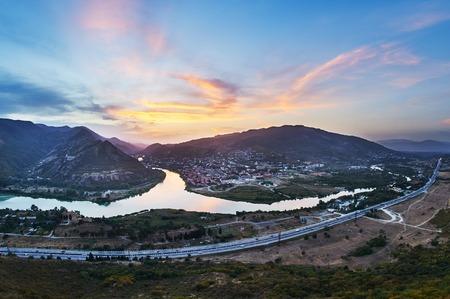 confluence: Confluence of two Georgian Kura and Aragvi rivers in Mtskheta Georgia