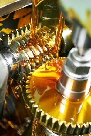 engranajes: industria metalúrgica. engranaje de dientes de la rueda dentada de mecanizado por la herramienta molino de cuchillas encimera. disparo auténtico en condiciones difíciles. quizá poco borrosa Foto de archivo
