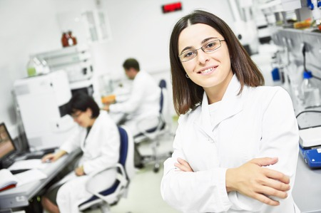 Portrait of pharmaceutical scientific female researcher at pharmacy industry manufacture factory laboratory