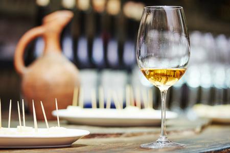 wine glass: White wine glass for tasting or degustation in the cellar