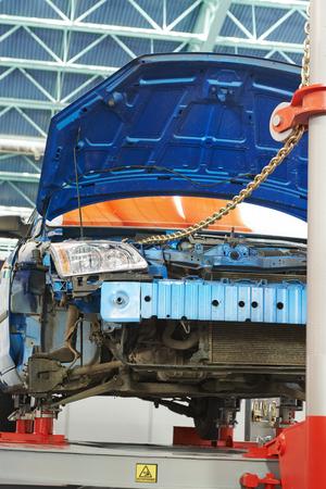 berth: car body on a building berth during repair work
