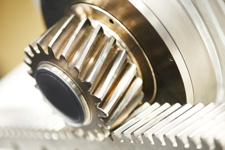 gear connection for motion transmission. Metal cog tooth wheel and rack