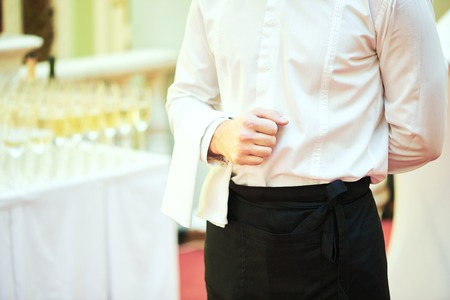 restaurant people: Professional catering business event waiter ready to service