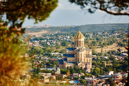 sacred trinity: Sameba orthodox church cathedral. Touristic landmark in Tbilisi Georgia Stock Photo