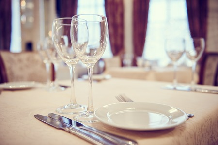 table set: Catering service. Restaurant set table with glassware at event.