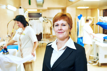cleaning service: Portrait of hotel linen cleaning service manager Stock Photo