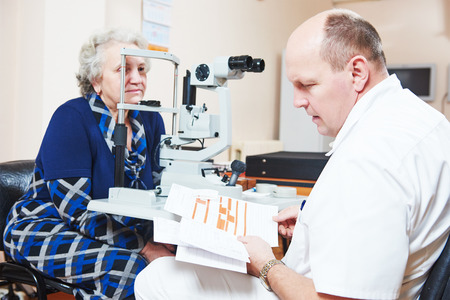 doctor of optometry: Optometry concept. male optometrist optician doctor examines eyesight of female patient in eye ophthalmological clinic Stock Photo