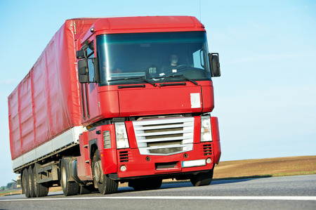 interstate: Lorry with trailer on highway autobahn interstate road