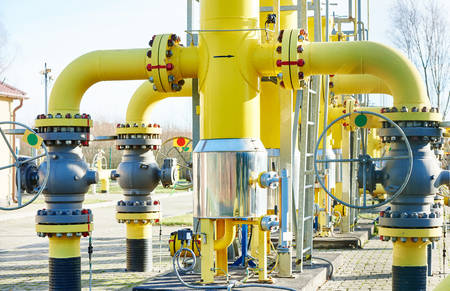 gas distribution: gas distribution station with pipes anf faucet outdoors Stock Photo