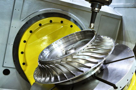 rapid steel: Milling cutting metalworking process. Precision industrial CNC machining of turbine metal detail by mill at factory