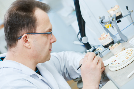 articulator: Dental technician painting tooth during work on dentures at prosthesis laboratory Stock Photo