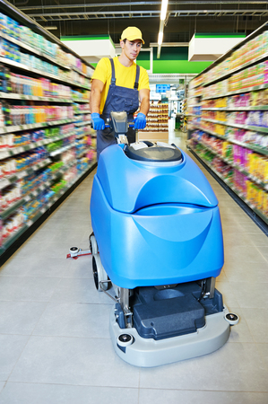 bioclean: Floor care and cleaning services with washing machine in supermarket shop store