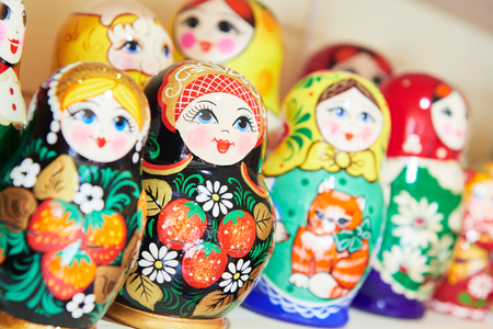 russian: Matryoshka. traditional colorful Russian wooden nesting dolls