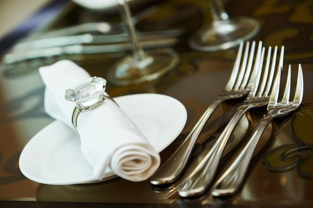catering services. Plate, dinner napkin with cutlery in restaurant