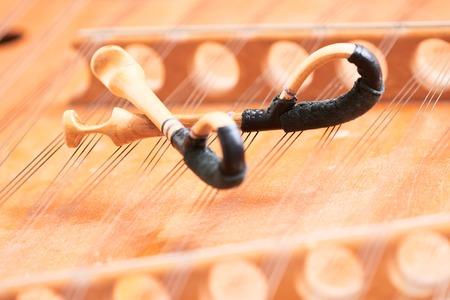 dulcimer cimbalom stringed musical instrument with hammers Stock Photo