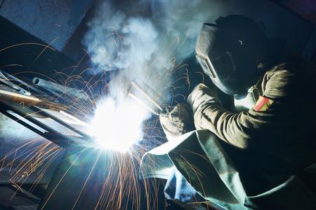 industrial arc welding work Stock Photo