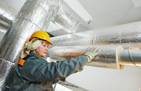 waterproofing material: female insulation worker