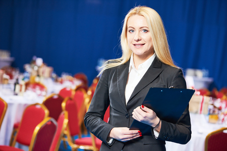 Restaurant manager or catering administrator at event Stock Photo