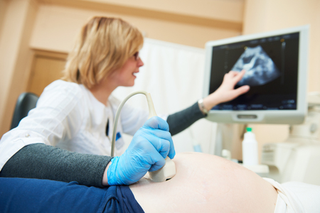 Ultrasound test. Pregnancy. Gynecologist checking fetal life with scanner. Standard-Bild