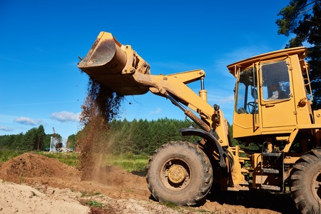industrial machinery: wheel loader excavator earthmoving Stock Photo