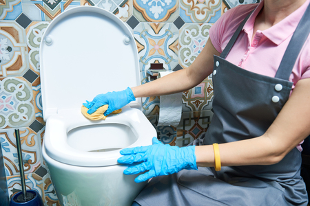 Cleaning service. woman clean toilet sink Stock fotó