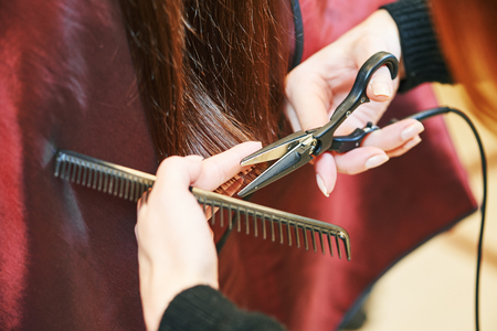 Hands of professional hair stylist with scissors and comb Stock Photo
