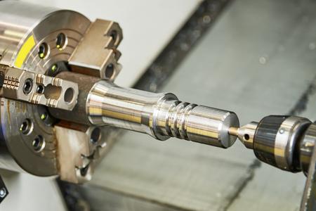 industrial metalworking cutting process on lathe machine Reklamní fotografie