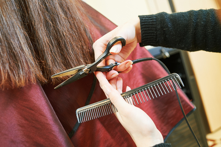 hairdresser: Hands of professional hair stylist with scissors and comb Stock Photo