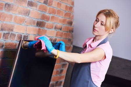 Cleaning service. woman clean living room