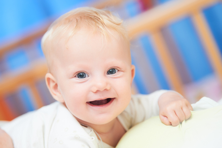 smiling female baby of three month. Stock Photo