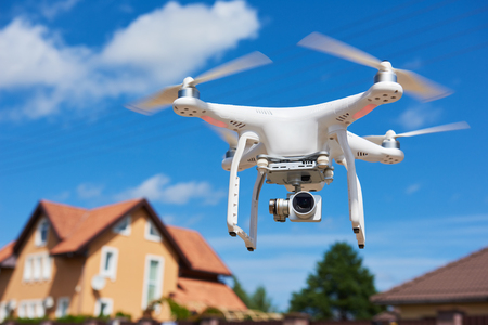 drone usage. private property protection or real estate check Stock Photo - 87801661