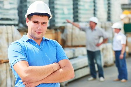 construction manager worker at building area Standard-Bild