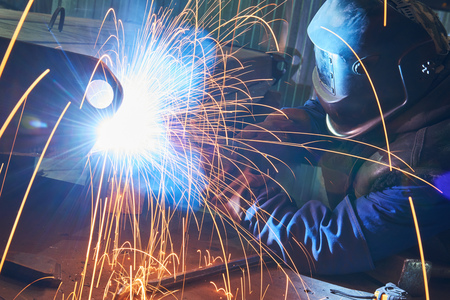 industrial arc welding work Stock Photo
