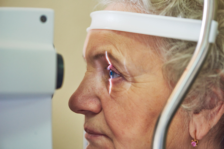 ophthalmology. eyesight check of adult female woman Archivio Fotografico