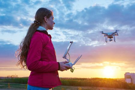 drone flying at sunset Standard-Bild