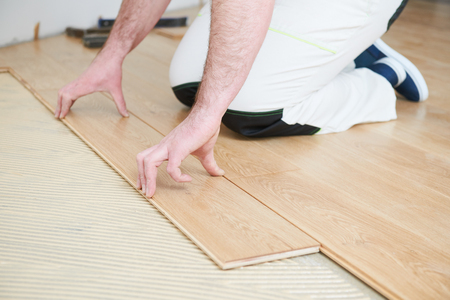 Worker Joining Parquet Floor Stock Photo Picture And Royalty Free
