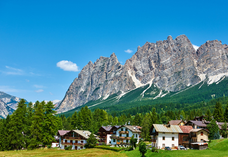 Cortina DAmpezzo with Pomagagnon mount at Dolomites in Italy, South Tyrol. Stock Photo