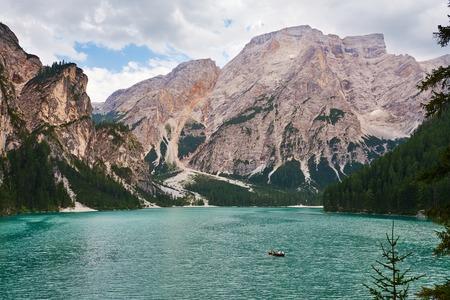 Lake Braies or Pragser Wildsee. Dolomites Mountain lake in South Tyrol, Italy.