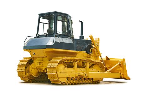Bulldozer loader machine for earthmoving works on white Reklamní fotografie
