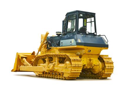 Bulldozer loader machine for earthmoving works on white Stock Photo
