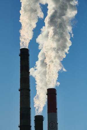 Smoking pipes or chimneys of power plant or electropower station. Air pollution