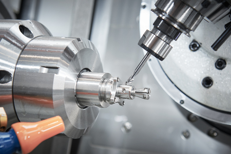 industrial metalworking cutting process by CNC milling cutter Stock Photo
