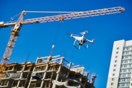 drone survellance over construction area. building site inspection. Stock Photo