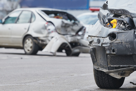 car crash accident on street, damaged automobiles after collision in city Stock Photo