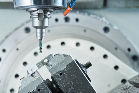 milling at CNC machine. industrial metalworking cutting process by cutter