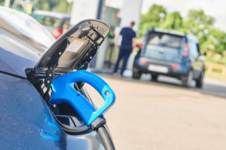 electric car charging. Ecological automobile Reklamní fotografie