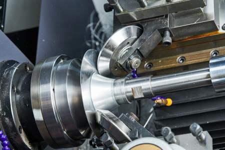 Sheet metal forming processes. spinning blank on cnc lathe machine Reklamní fotografie